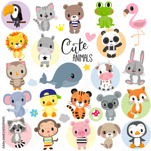 Cute Cartoon Animals on a white background