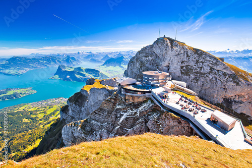 Pilatus Kulm mountain peak and Lucerne lake view Fototapet