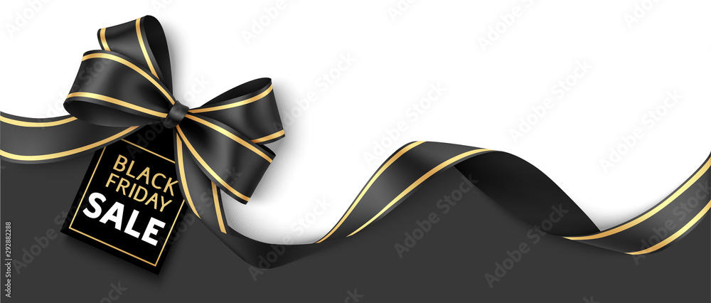 Fototapeta Black friday sale design template. Decorative black bow with price tag. Vector illustration.