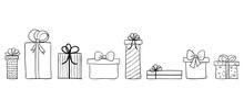 Seamless Long Banner With Hand Drawn Gift Boxes. Vector Background With Doodle Presents. Christmas Banner, Greeting Card