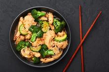 Hunan Chicken In Black Bowl At...
