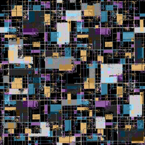 Fototapeta Seamless pattern of blue, purple, gray, beige spots on a black background. Perpendicular lines. Abstraction. obraz na płótnie