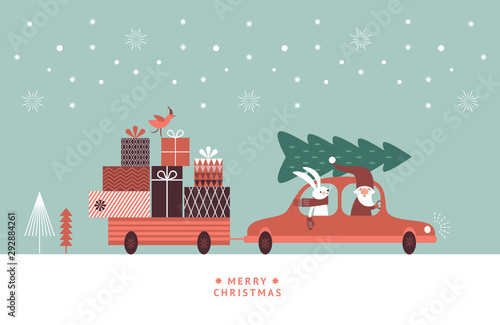 Cartoon voitures Christmas illustration. Santa and rabbit in knitted scarf are going by car and carry gifts and christmas tree