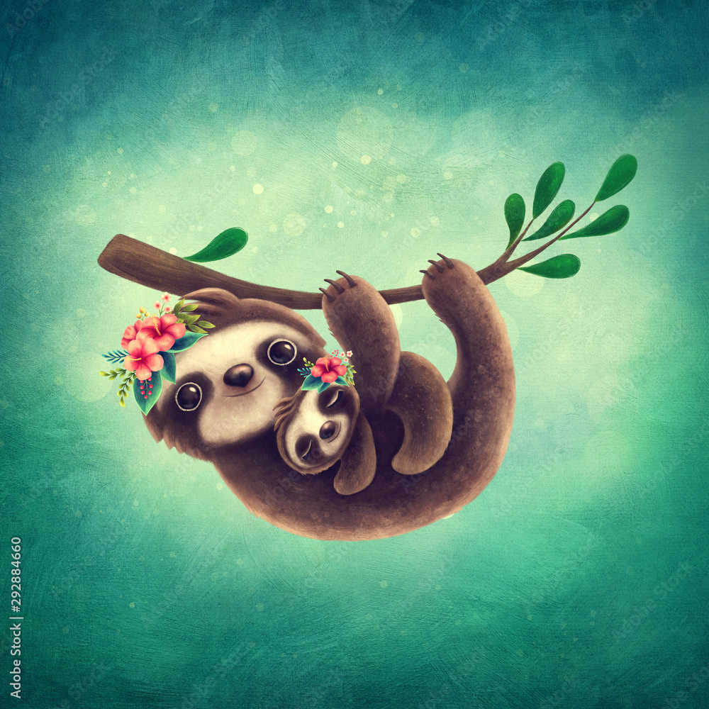Sloth Mom with a Baby