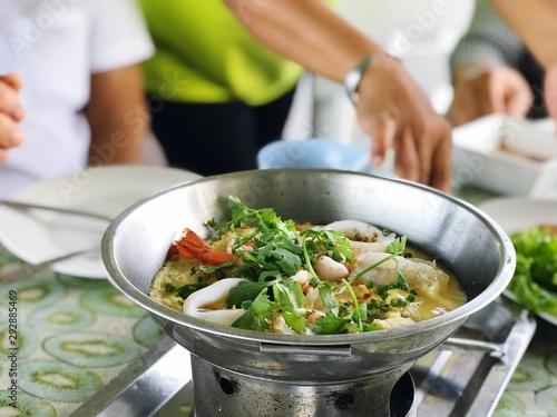 Poster Cuisine Poached seafood hot pot or Egg soup seafood hot pot