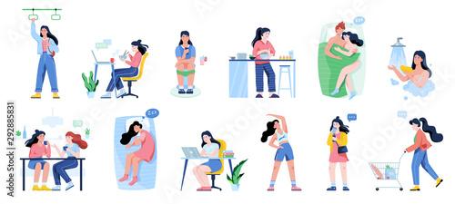 Cuadros en Lienzo Daily routine of a woman set. Girl having breakfast