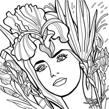 Beautiful Girl With Fashion Wreath Of Iris Flowers.  Hand Drawn Amazing Artwork. Love Concept For Wedding Invitations, Logo, Label, Picture For Printing Black, White. Coloring Book Page For Adults.