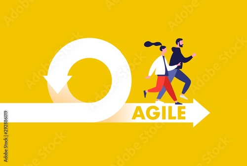 Photo Agile development methodology icon vector illustration