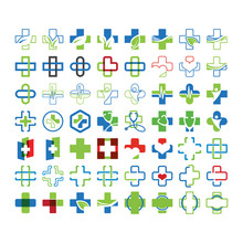 Mega Collection Set Of Medical Cross Graphic Design Template