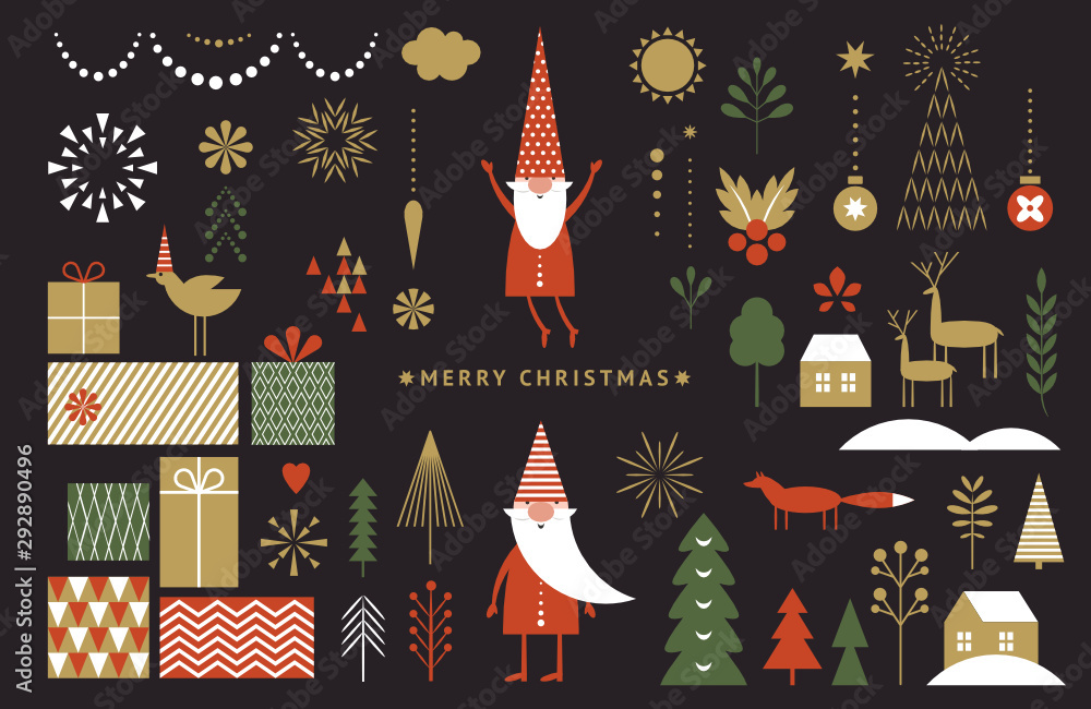 Fototapeta Set of graphic elements for Christmas cards. Gnome, deer, Christmas Trees, snowflakes, stylized gift boxes. Black background.