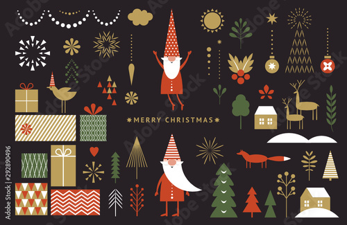 Set of graphic elements for Christmas cards. Gnome, deer, Christmas Trees, snowflakes, stylized gift boxes. Black background.