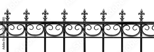 Black wrought iron front garden. Metal fence made of forged steel. Close up. Isolated on white background