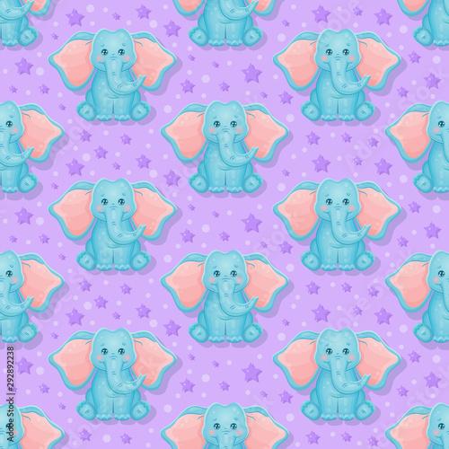 Cute elephant seamless pattern. Violet Background. Vector Illustration.