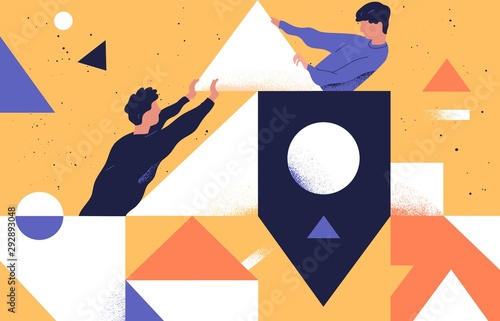 Canvas Prints Wall Decor With Your Own Photos Colleagues teamwork concept flat vector illustration. Male coworkers cartoon characters and abstract geometrical shapes. Coworking, support and problem solving concept. Businessmen communication.