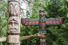 Close Up Detail Of Traditional Totem Poles, Located In British Columbia