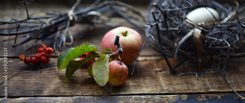 wild Apple in dry branches on the table autumn still life - 292893231