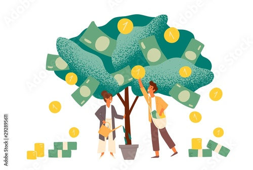 Fototapeta Business investment profit flat vector illustration. Revenue and income metaphor. Businessman and businesswoman characters picking cash from money tree. Investors strategy, funding concept. obraz