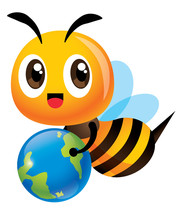 Save The Bee And Earth. Cartoo...