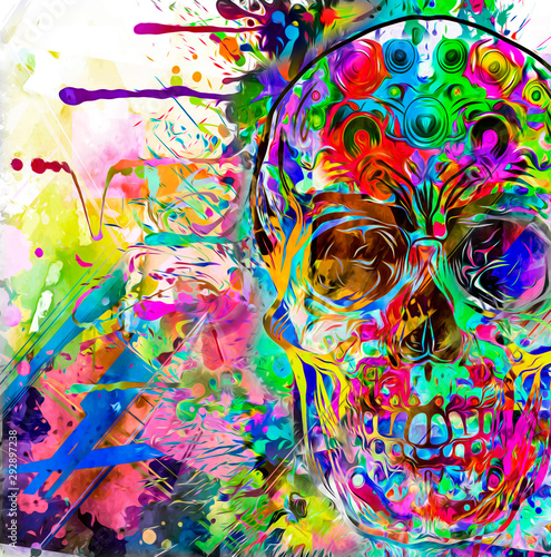 Abstract creative illustration with colorful skull