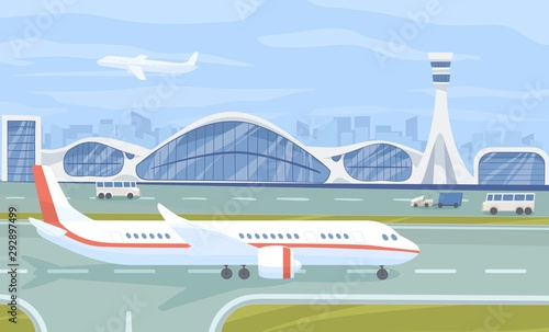 Photo Airport terminal flat vector illustration