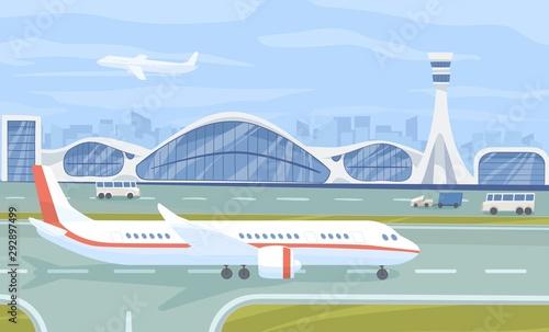 Airport terminal flat vector illustration Canvas Print