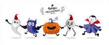 Vector Template Of Halloween Party Invitations Or Greeting Cards