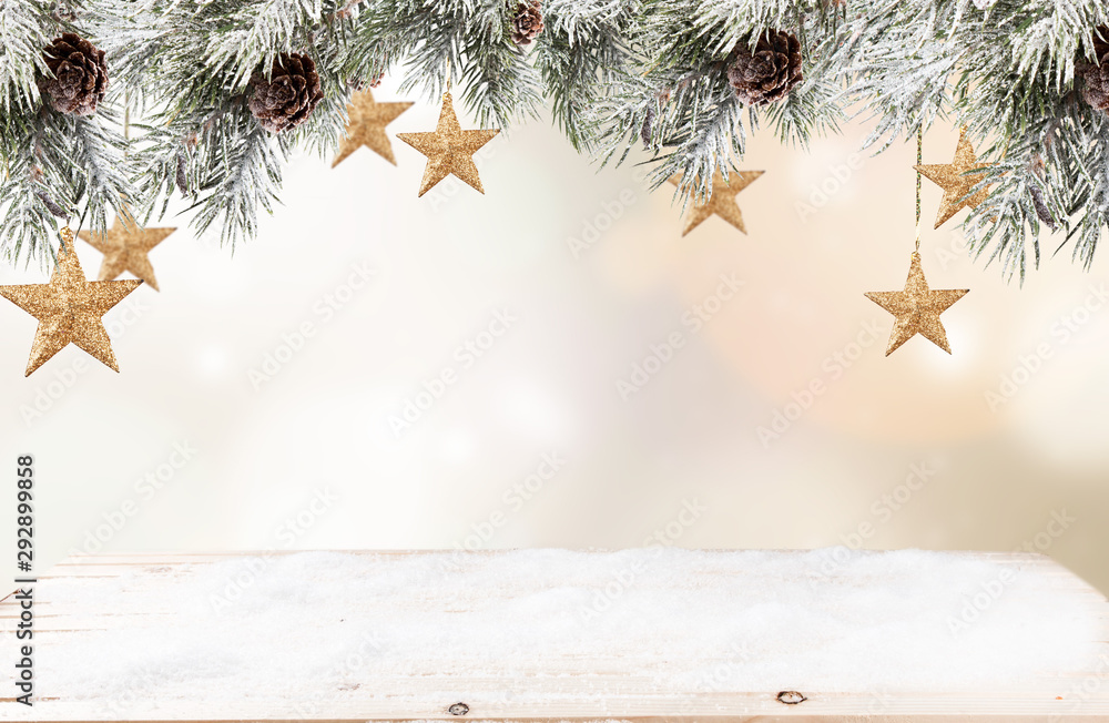 Fototapety, obrazy: Christmas red ball with celebration decoration and blur background. Free space for text
