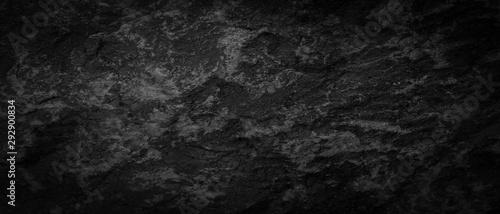 Fototapeta Panorama dark gray black slate pattern texture background. Panoramic dark gray black slate texture surface obraz