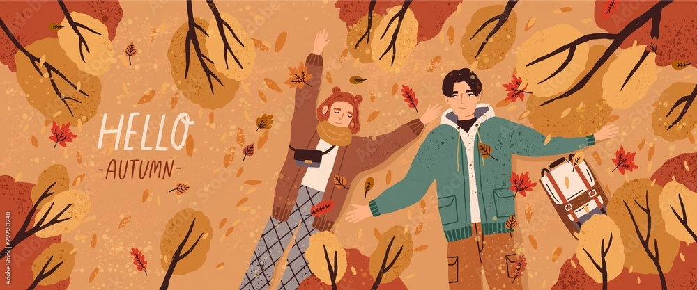 Fototapeta Hello autumn flat banner vector template. Postcard layout with couple lying on ground top view. Fall season colorful horizontal illustration. Boyfriend and girlfriend enjoy autumn characters.