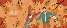 Hello Autumn Flat Banner Vector Template. Postcard Layout With Couple Lying On Ground Top View. Fall Season Colorful Horizontal Illustration. Boyfriend And Girlfriend Enjoy Autumn Characters.