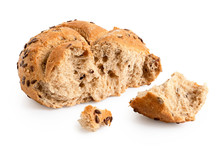 Broken Whole Wheat Kaiser Roll With Linseeds And Sesame Seeds Isolated On White. Small And Big Pieces.