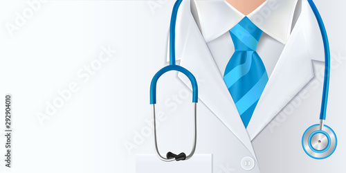 Obraz International doctors day background. Medical health care banner  design with doctor, stethoscope and blue necktie. Vector illustration - fototapety do salonu