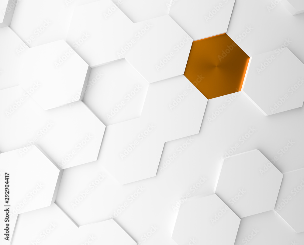 White hexagons with a golden one abstract background