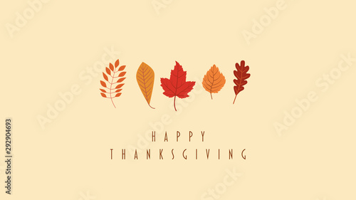Fototapeta Thanskgiving card or website header vector template with collection of leaves, foliage in autumn colors - orange, red, yellow. Holiday banner, seasonal design. obraz