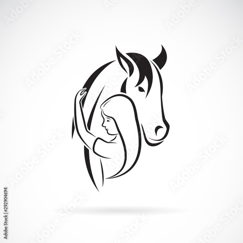 Vector silhouette of the horse and girl on white background Canvas Print