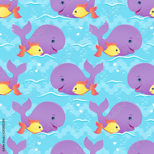 Whale and fish best friends seamless pattern.