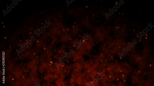 Beautiful abstract background Burning red hot With Flying Sparks animation 3D re Fototapeta