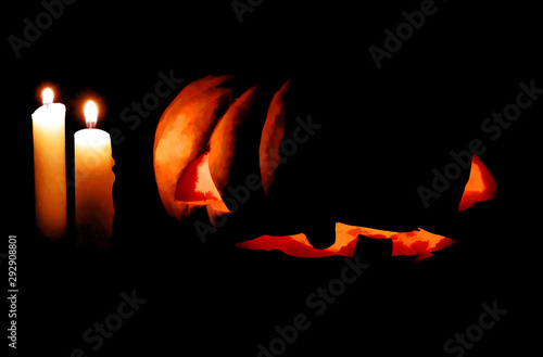 Photo  Halloween pumpkin and candle in darkness