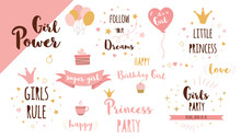 Girls Party Phrases Set Funny ...