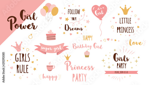 Fotografie, Tablou  Girls party phrases set Funny quote Cute text Princess crown Pink girl birthday