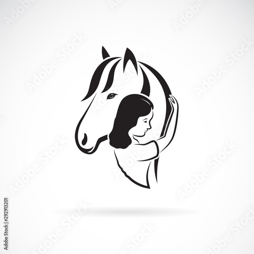 Photo Vector silhouette of the horse and girl on white background