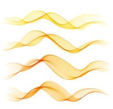 Set Of Orange Abstract Wave De...