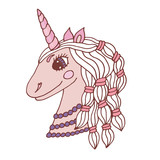 Multicolored Unicorn for nursery design and page
