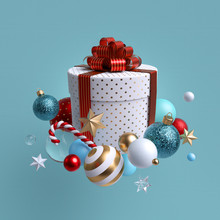 3d Christmas Gift, White Cylin...