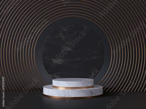 Fototapeta  3d rendering of white pedestal steps isolated on black, round marble background,