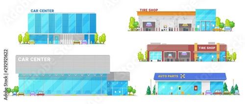 Car center, auto service, dealer showroom building