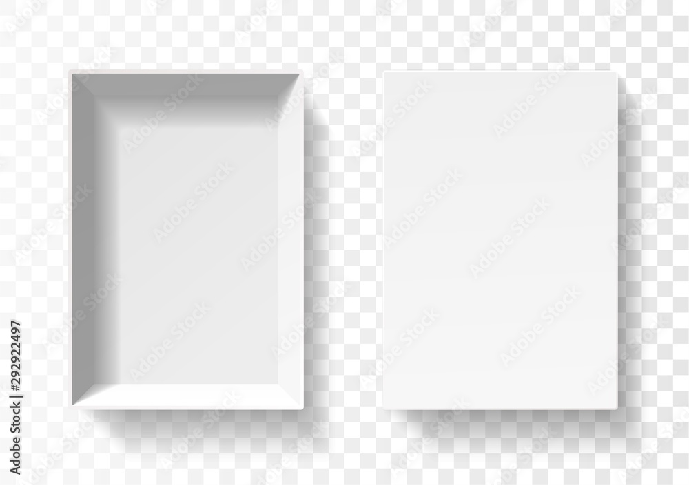 Fototapety, obrazy: Open pack box for phone . Empty cardboard container template. 3d top view illustration with transporented shadow isolated on white. Blank space inside pakage mockup. Closeup realistic vector object.