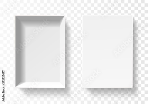 Obraz Open pack box for phone . Empty cardboard container template. 3d top view illustration with transporented shadow isolated on white. Blank space inside pakage mockup. Closeup realistic vector object. - fototapety do salonu