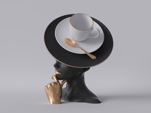 3d Render, Black Mannequin Woman Head Isolated On White Background, Golden Hand, Lady Wearing Unusual Hat, Coffee Cup And Golden Spoon, Fashion Concept, Female Body Parts, Clean Minimal Design