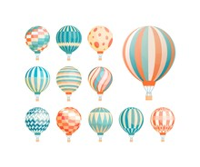 Hot Air Balloons Flat Vector I...